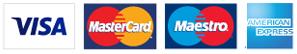 Visa, Mastercard, Maestro, Amex