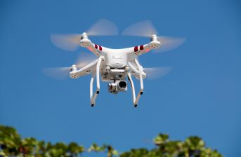 drone flying to show possible usage in future traffic management